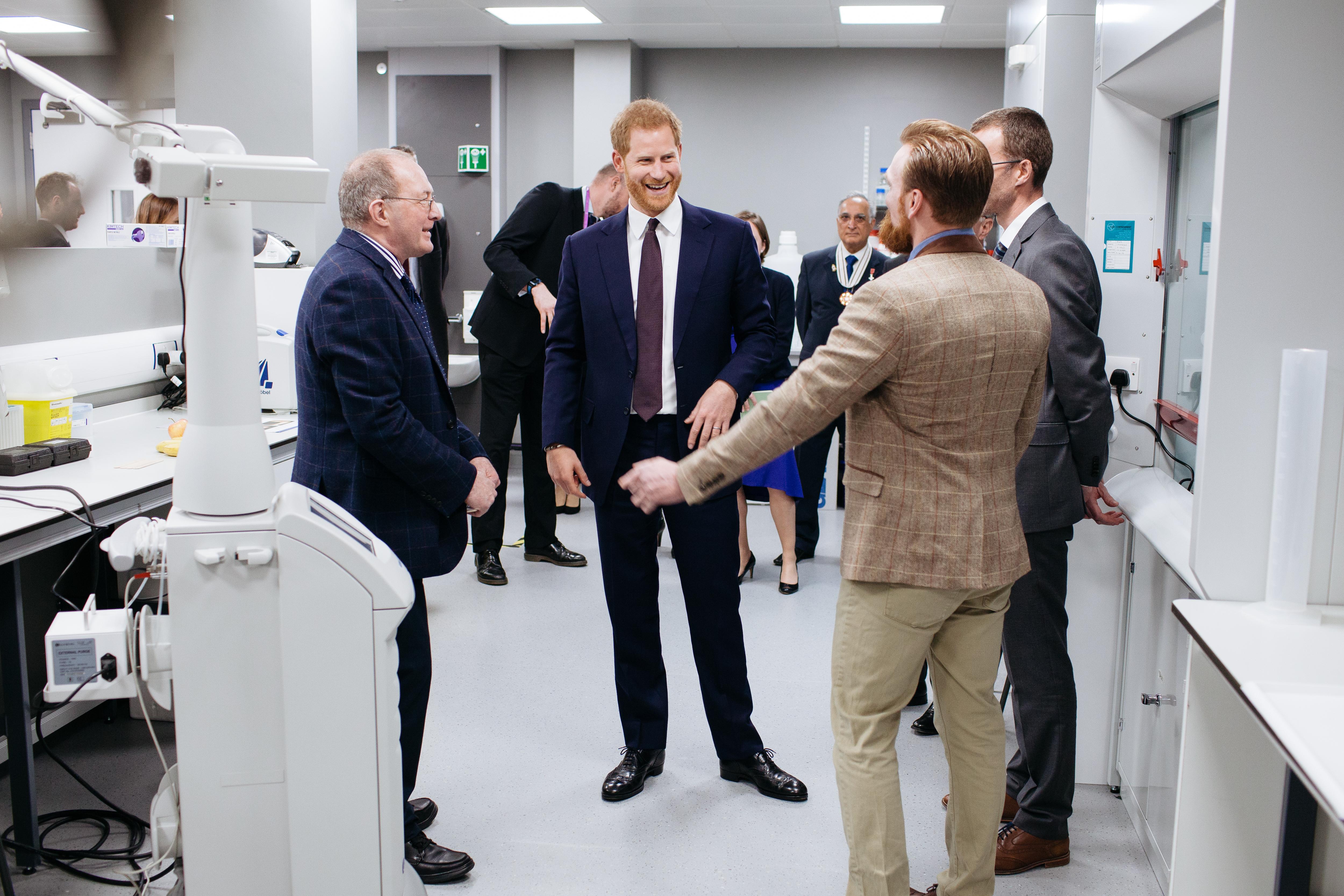 HRH Prince Harry, The Duke of Sussex visits The Queen Elizabeth Hospital in Birmingham Scar Center